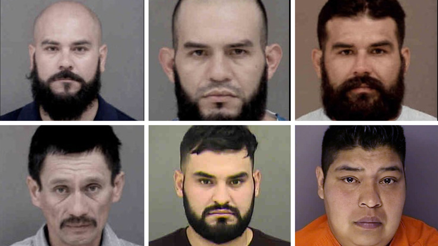 A massive drug operation with ties to a Mexican drug cartel resulted in the arrest of six immigrants in the country illegally. From left to right, upper row: Oscar Rangel-Gutierrez, Raul Rangel-Gutierrez, Regulo Rangel Gutierrez; lower row ( L to R) Rodolfo Martinez, Rigoberto Rangel-Gutierrez and Francisco Garcia-Martinez.