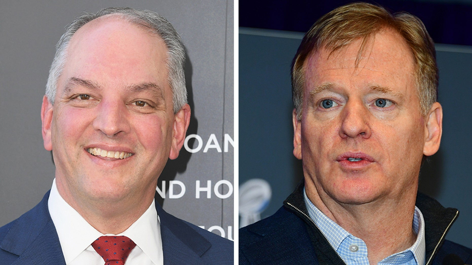 Louisiana Gov. John Bel Edwards, left, and NFL Commissioner Roger Goodell