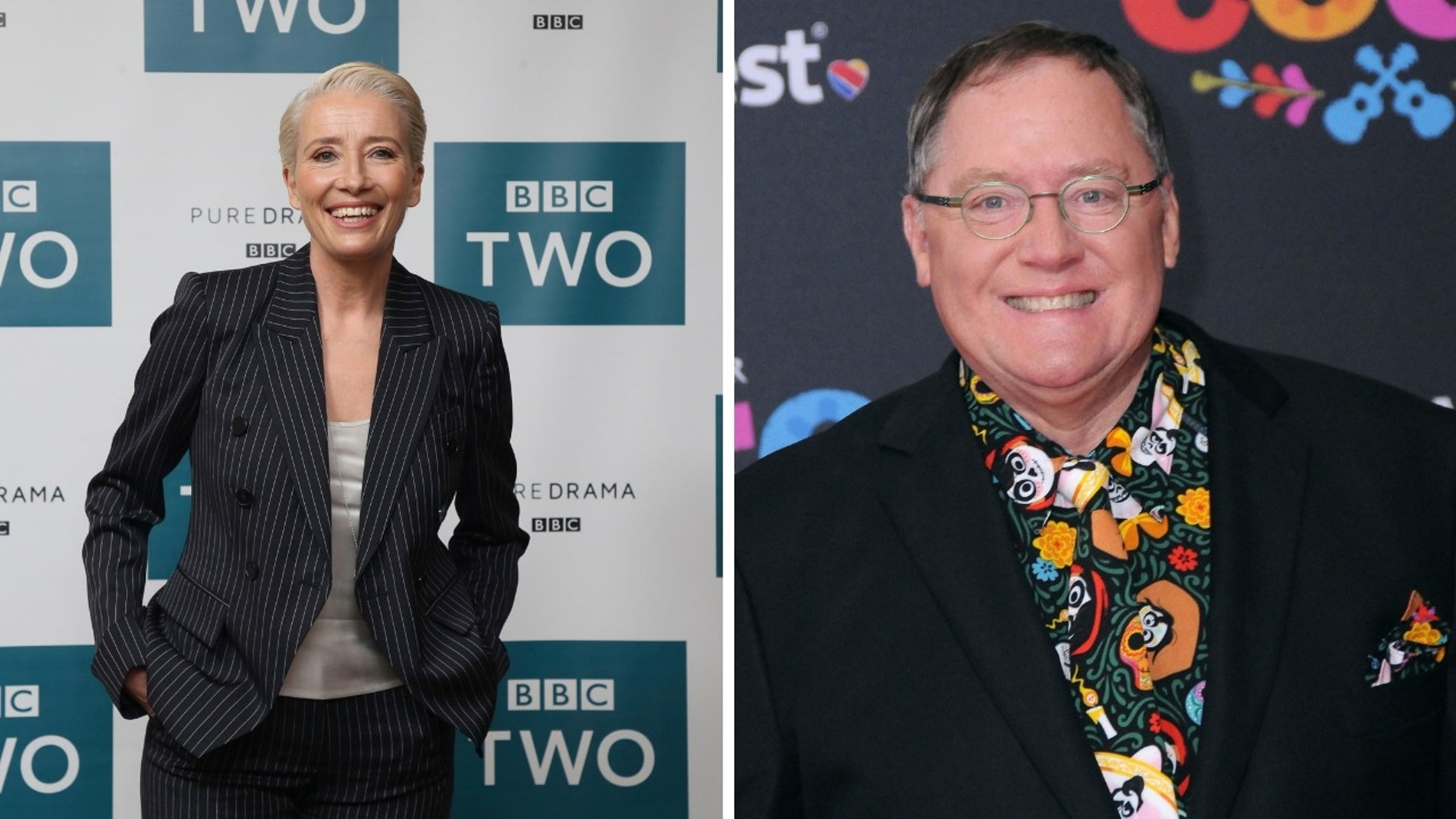 "Emma Thompson [left] wrote in a letter why she will not work with former Pixar executive John Lasseter [right] and was withdrawing from the animated film ""Luck."""