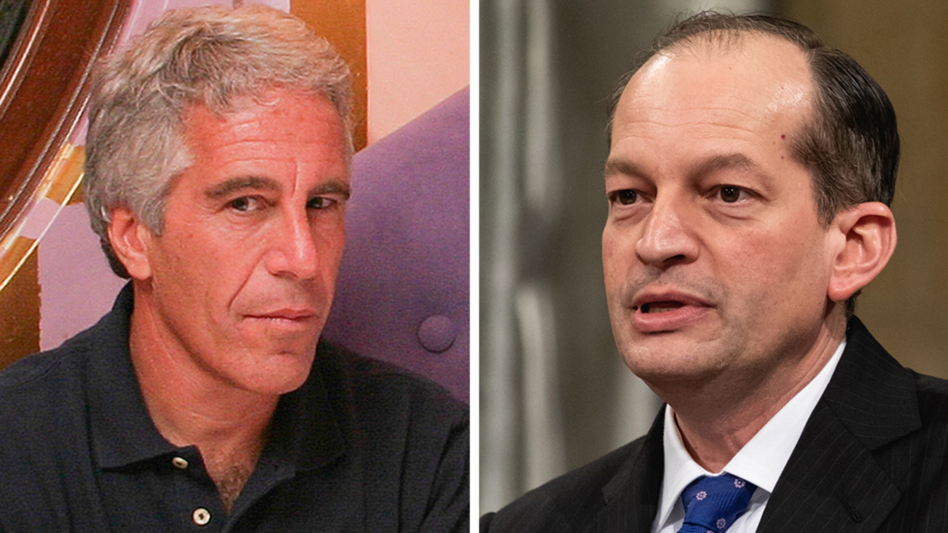 Convicted sex offender Jeffrey Epstein and Labor Secretary Alex Acosta