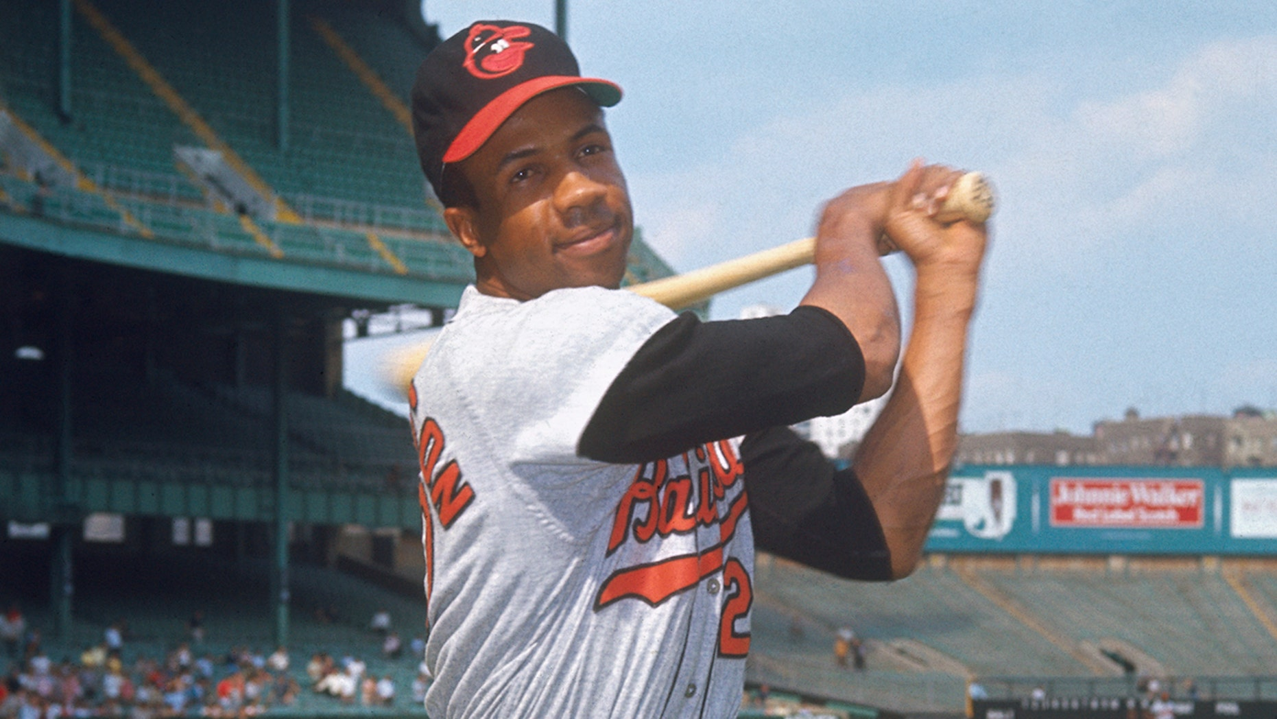 Baltimore Orioles' outfielder Frank Robinson in batting stance at Yankee Stadium.