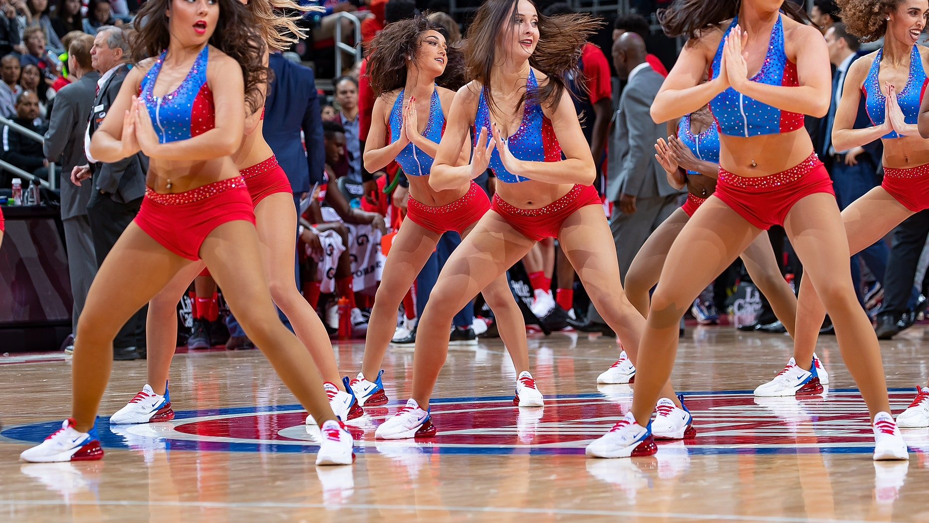 The Pistons Dancers entertain the fans on a play stoppage in the second half of an NBA game at Little Caesars Arena on Dec. 26, 2018 in Detroit, Mich.