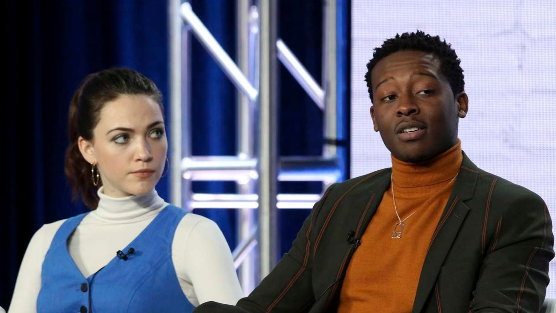 """Violett Beane, left, and Brandon Micheal Hall participate in the """"God Friended Me"""" show panel during the CBS presentation at the Television Critics Association Winter Press Tour at The Langham Huntington on Wednesday, Jan. 30, 2019, in Pasadena, Calif. (Photo by Willy Sanjuan/Invision/AP)"""