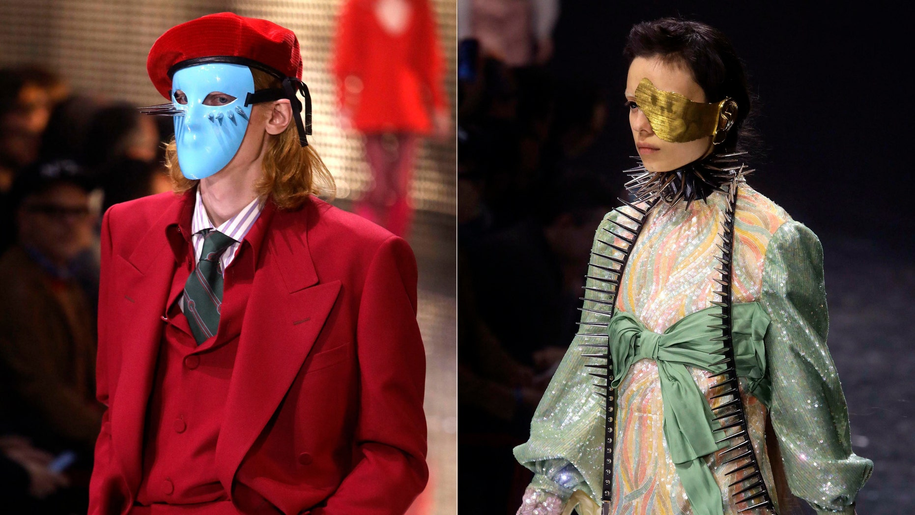 Gucci sent out more than a dozen eerie eye and face covers on both male and female models in its fall 2019 show in Milan.