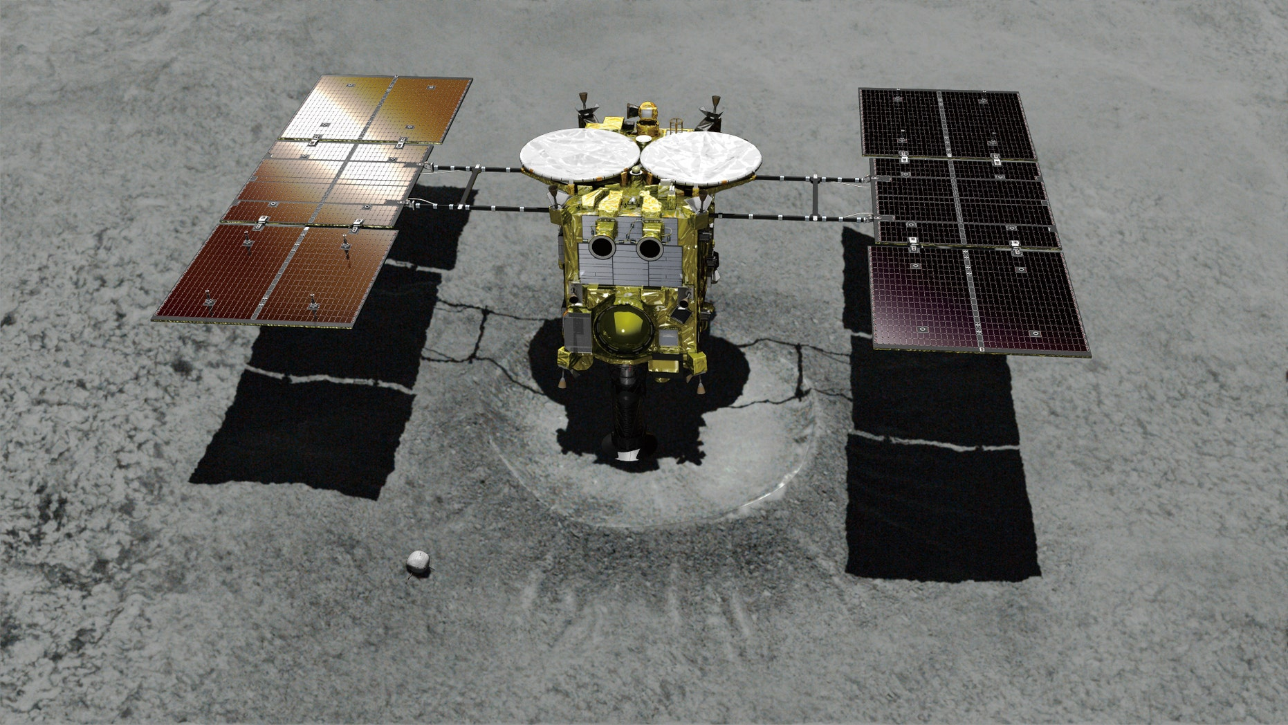 An illustration of the Japanese unmanned spacecraft Hayabusa2 approaching the asteroid Ryugu.