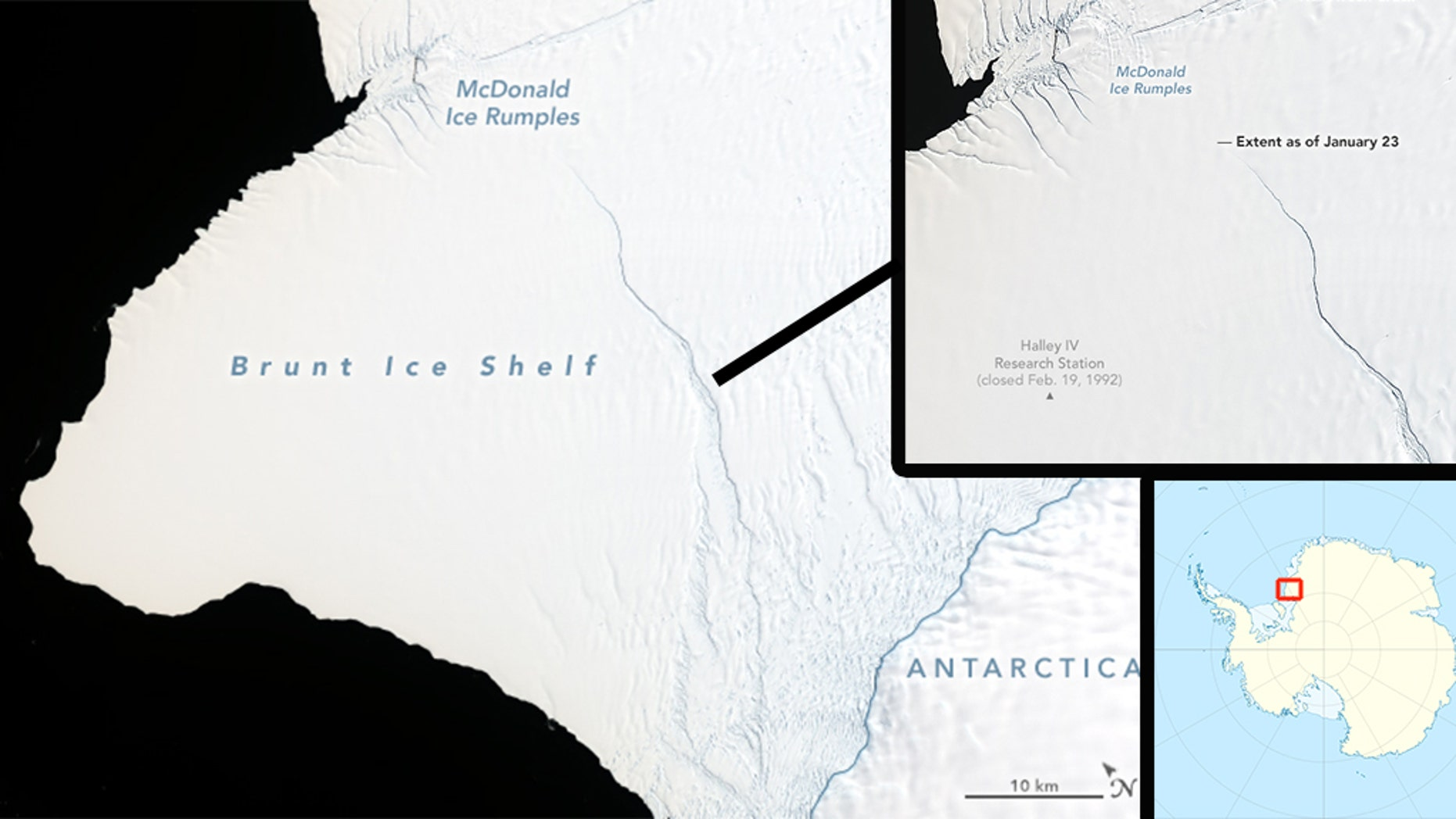 NASA scientists are observing the Brunt Ice Shelf in Antarctica, where they expect an iceberg around twice the size of New York City to soon break off.