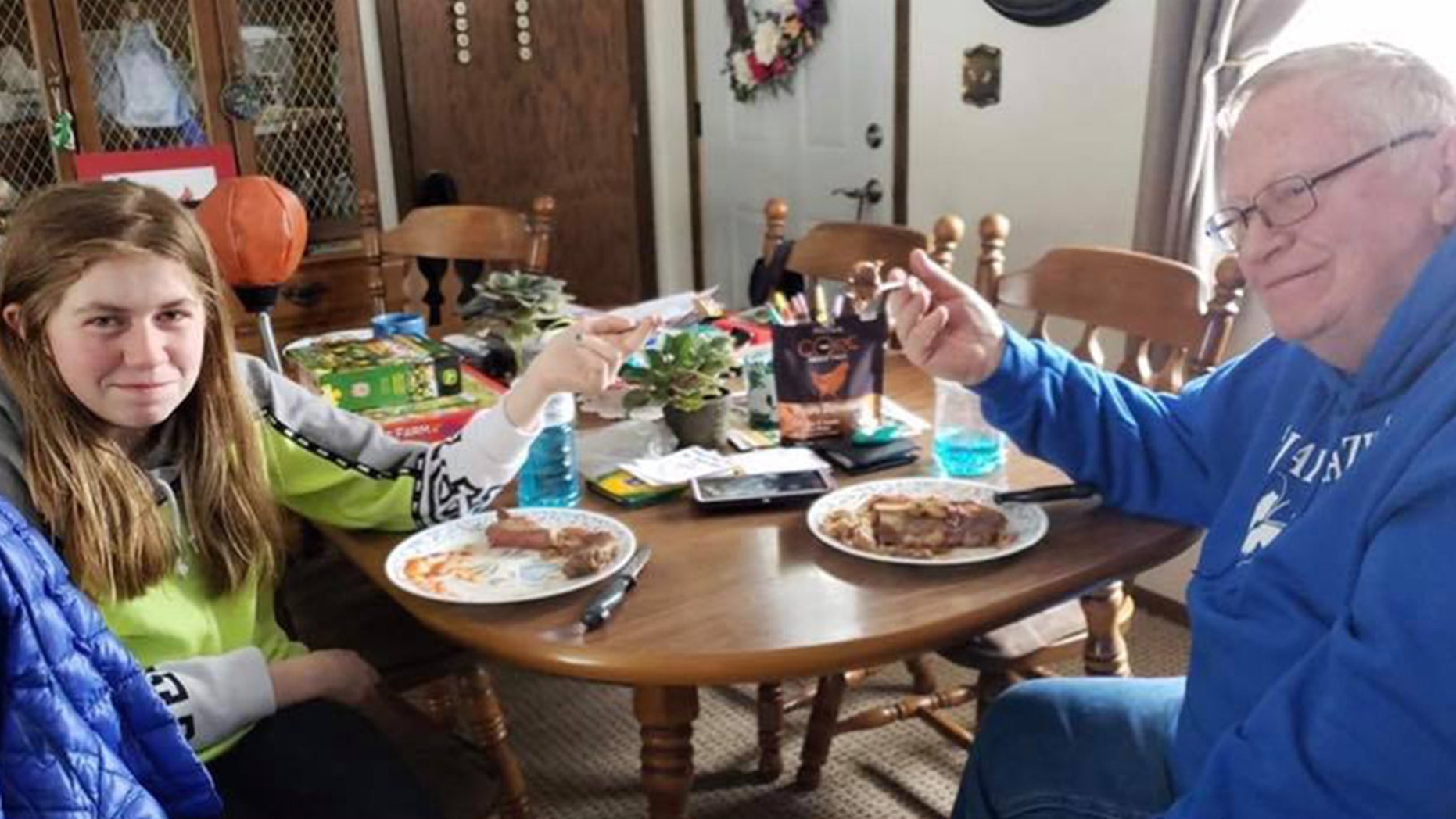 Jayme Closs enjoyed a steak dinner with her grandfather on Sunday.