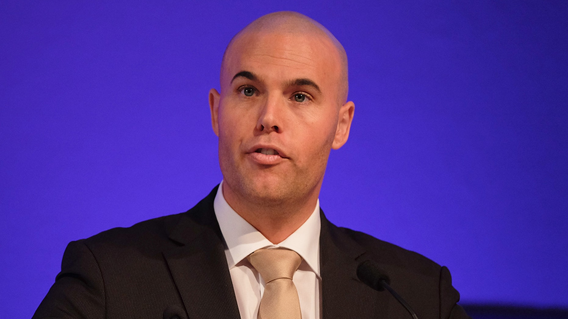 Joram Van Klaveren from the Dutch Voornederland Party, was once a staunch Muslim critic. (Photo by Ian Forsyth/Getty Images)