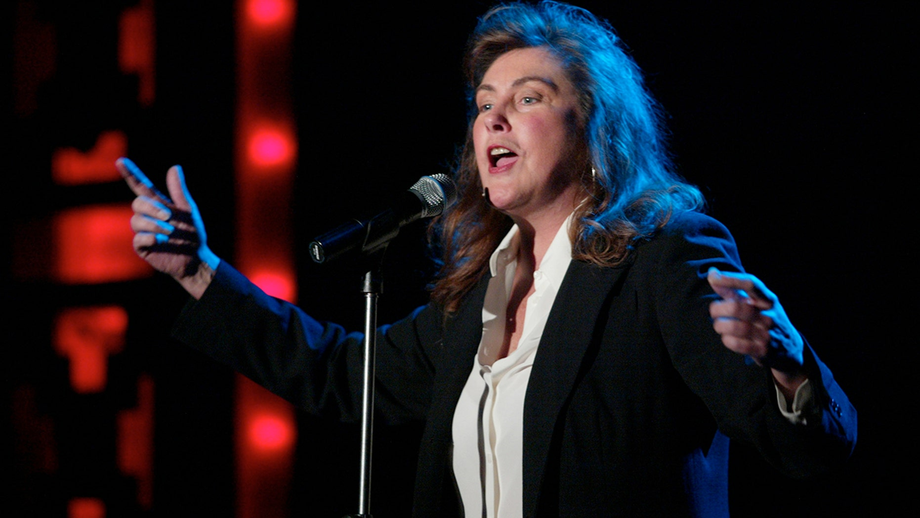 """Laura Branigan performs at Webster Hall in New York City in 2002. Branigan died in 2004 but her 1982 hit """"Gloria"""" has found new life as a rally song for the St. Louis Blues hockey club. (Getty Images)"""