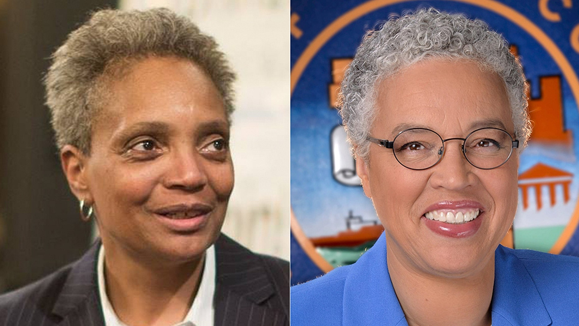 Lori Lightfoot, left, and Toni Preckwinkle, right, will face each other in an April 2 runoff.