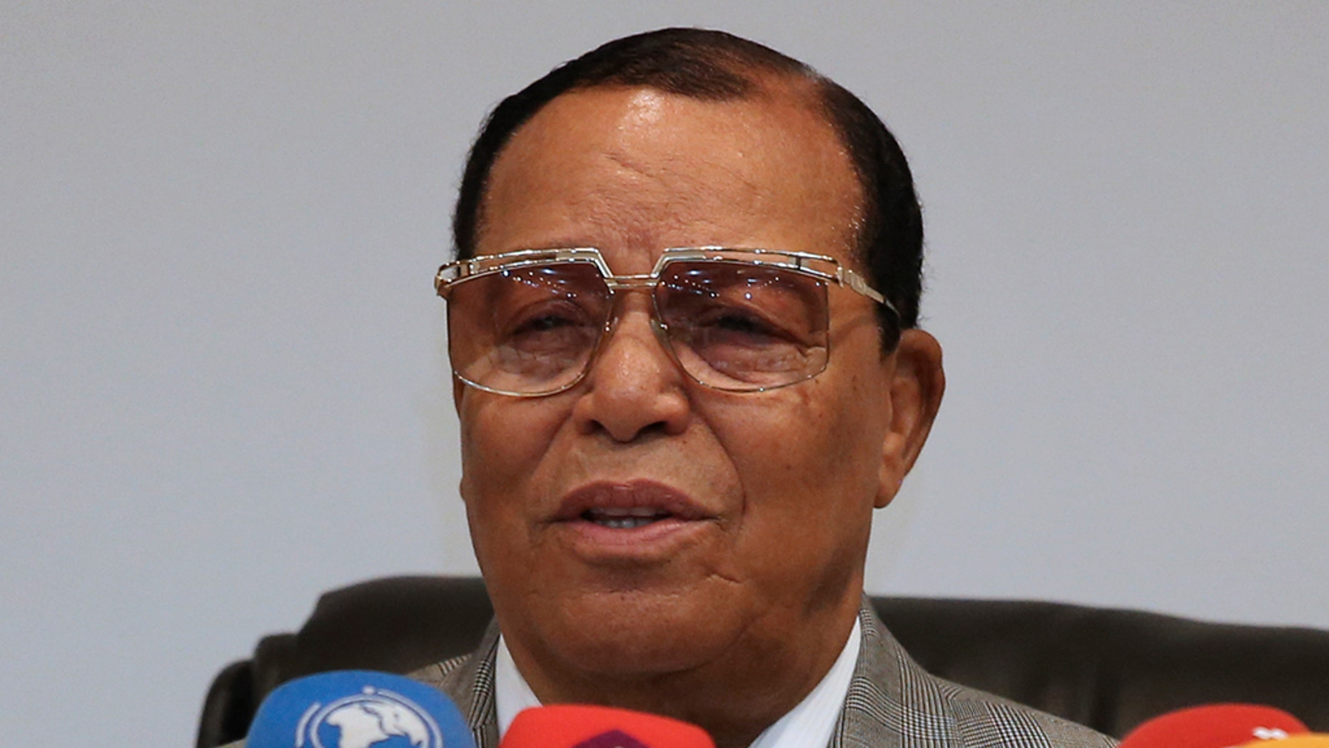 Minister Louis Farrakhan, the leader of the Nation of Islam, speaks at a press conference in Tehran, Iran, Thursday, Nov. 8, 2018 (AP Photo/Vahid Salemi)