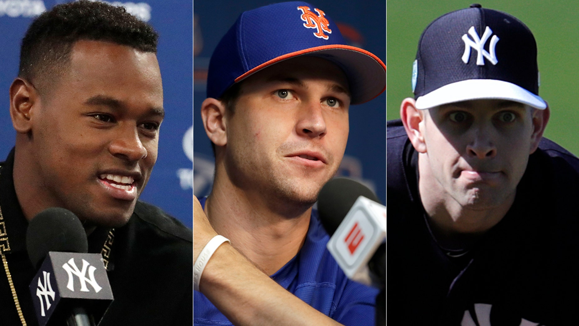 Luis Severino, left, and James Paxton, right, jabbed Jacob deGrom, center, over his contract extension.