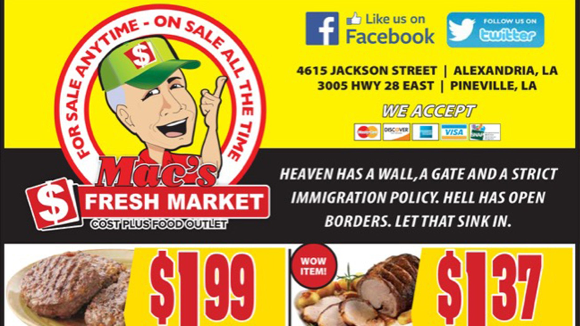 A grocery store chain in the South is facing backlash for printing a political message on its mailers.