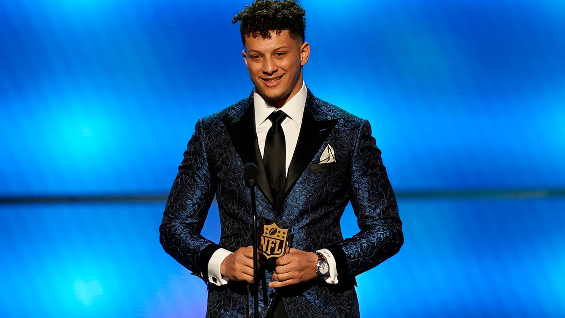 Patrick Mahomes of the Kansas City Chiefs accepts the award for AP offensive player of the year at the 8th Annual NFL Honors at The Fox Theatre on Saturday, Feb. 2, 2019, in Atlanta. (NFL/AP Images)