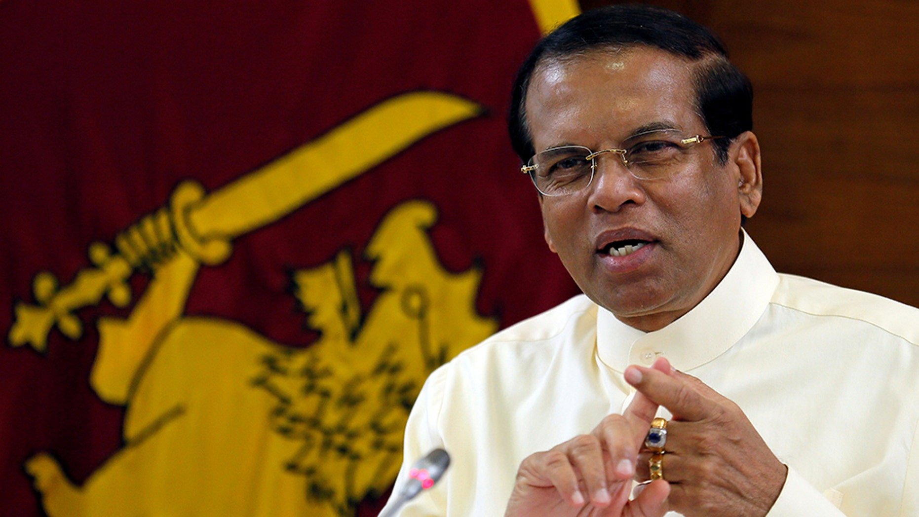 Sri Lanka's President Maithripala Sirisena speaks during a assembly with Foreign Correspondents Association during his chateau in Colombo, Sri Lanka, in Nov 2018.
