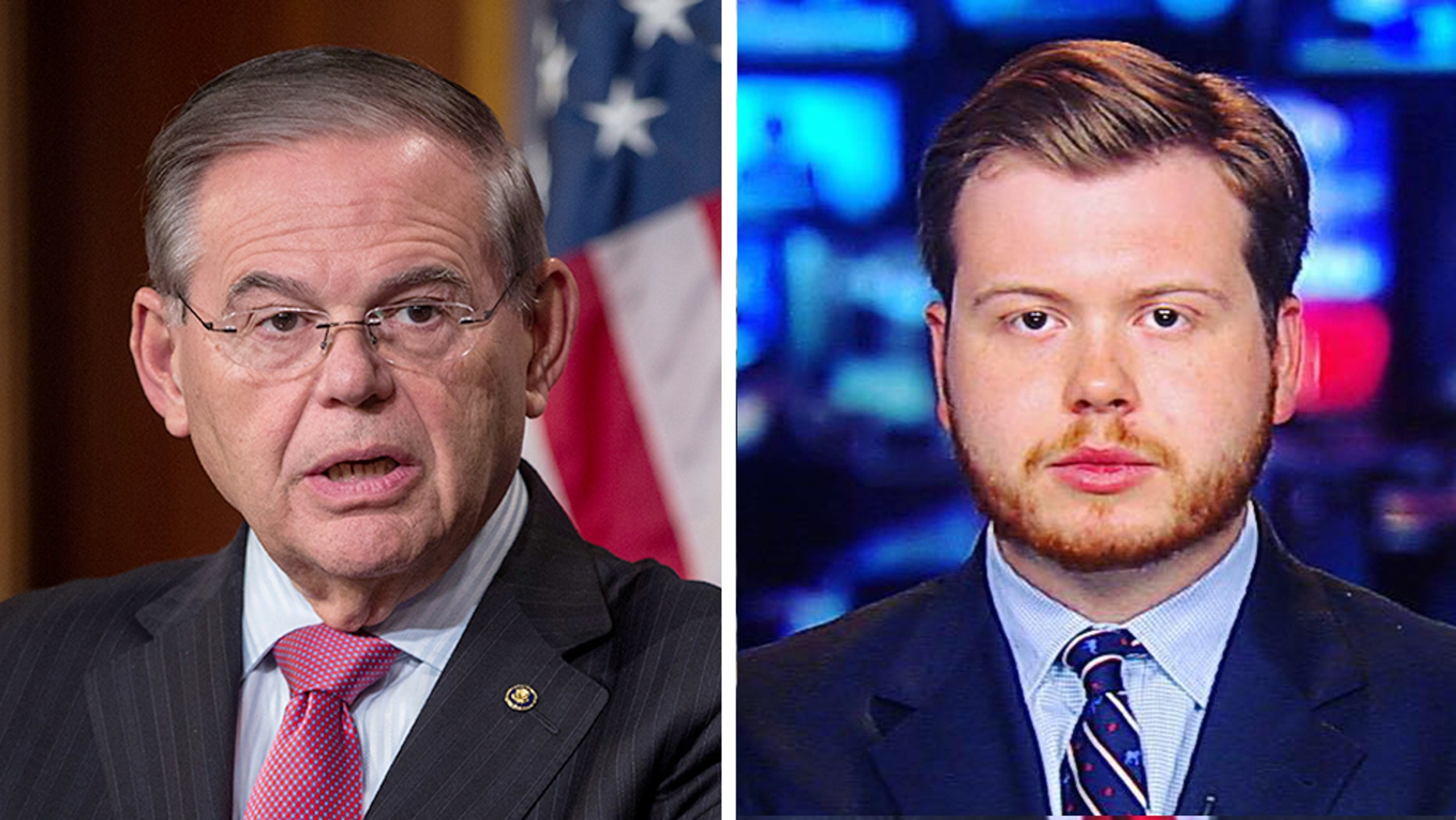 Sen. Bob Menendez, left, had a testy encounter with Daily Caller reporter Henry Rodgers. (Zach Gibson/Getty Images, Fox News)