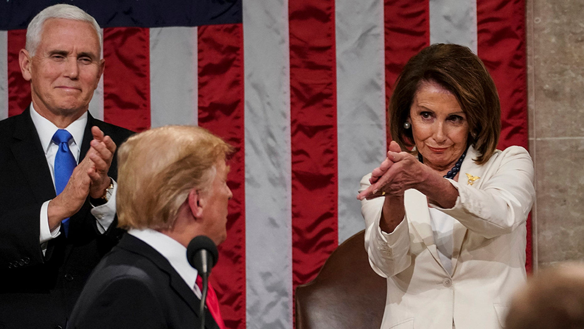 President Trump turns to House Speaker Nancy Pelosi as he delivers his State of the Union address to a joint session of Congress on Capitol Hill in Washington. (Doug Mills/The New York Times via AP, Pool)
