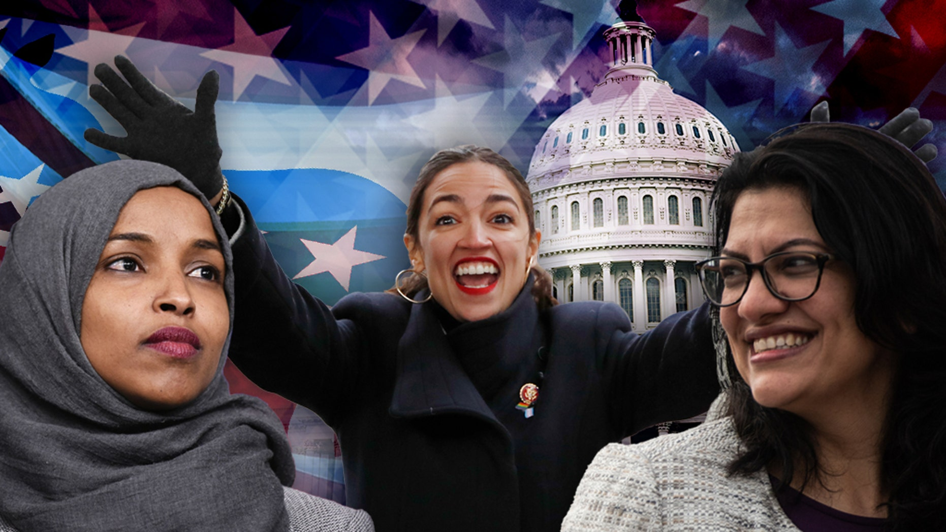 Three freshman lawmakers causing a stir on Capitol Hill: From left are U.S. Reps. Ilhan Omar, Alexandria Ocasio-Cortez and Rashida Tlaib.