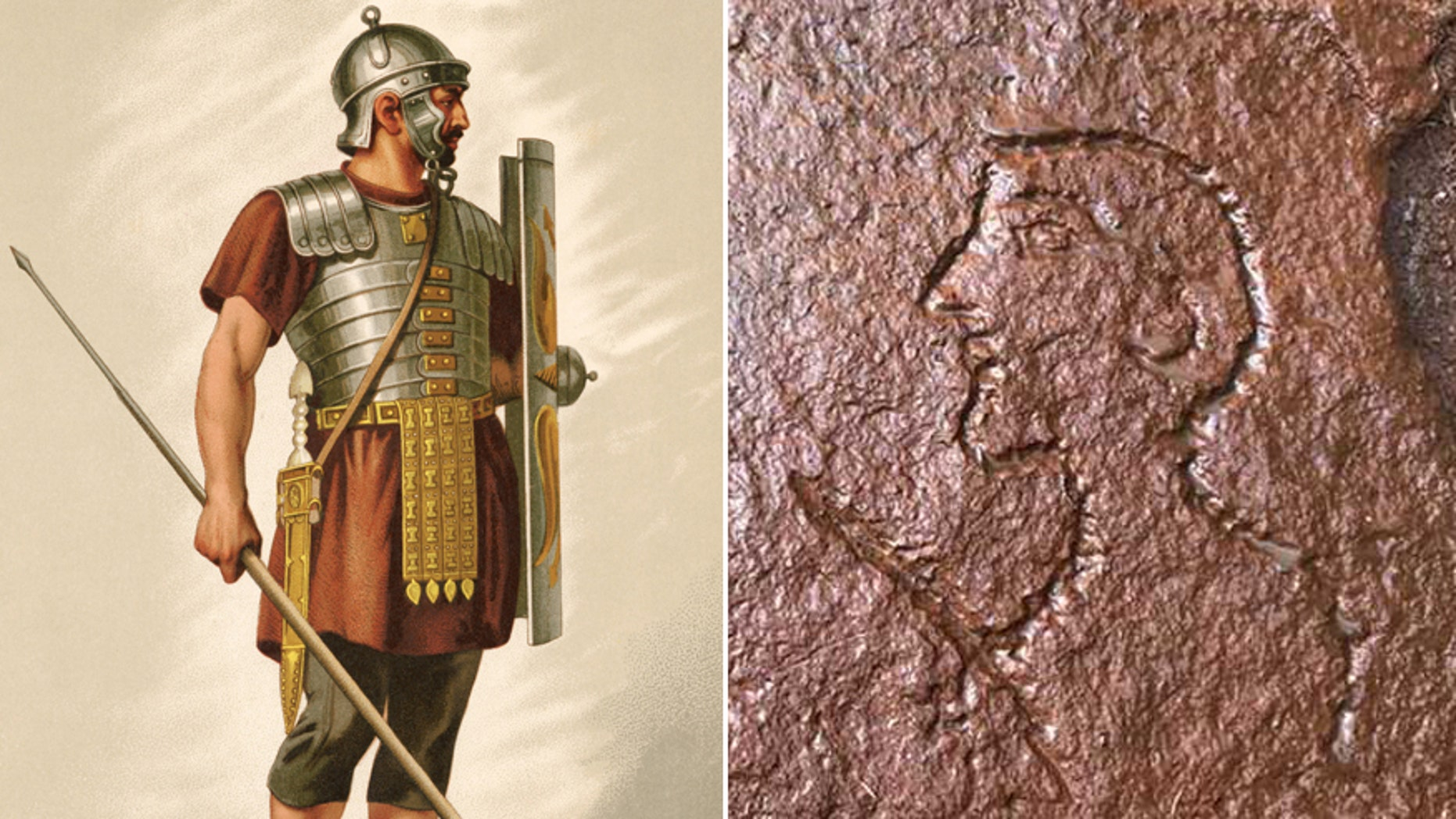 An illustration shows a Roman soldier/the caricature cut into the ancient quarry.
