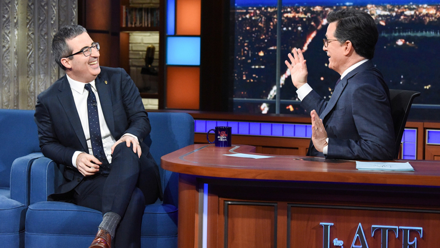 "The late show with Stephen Colbert and guest John Oliver during the show on February 1<div class=""e3lan e3lan-in-post1""><script async src=""//pagead2.googlesyndication.com/pagead/js/adsbygoogle.js""></script>
