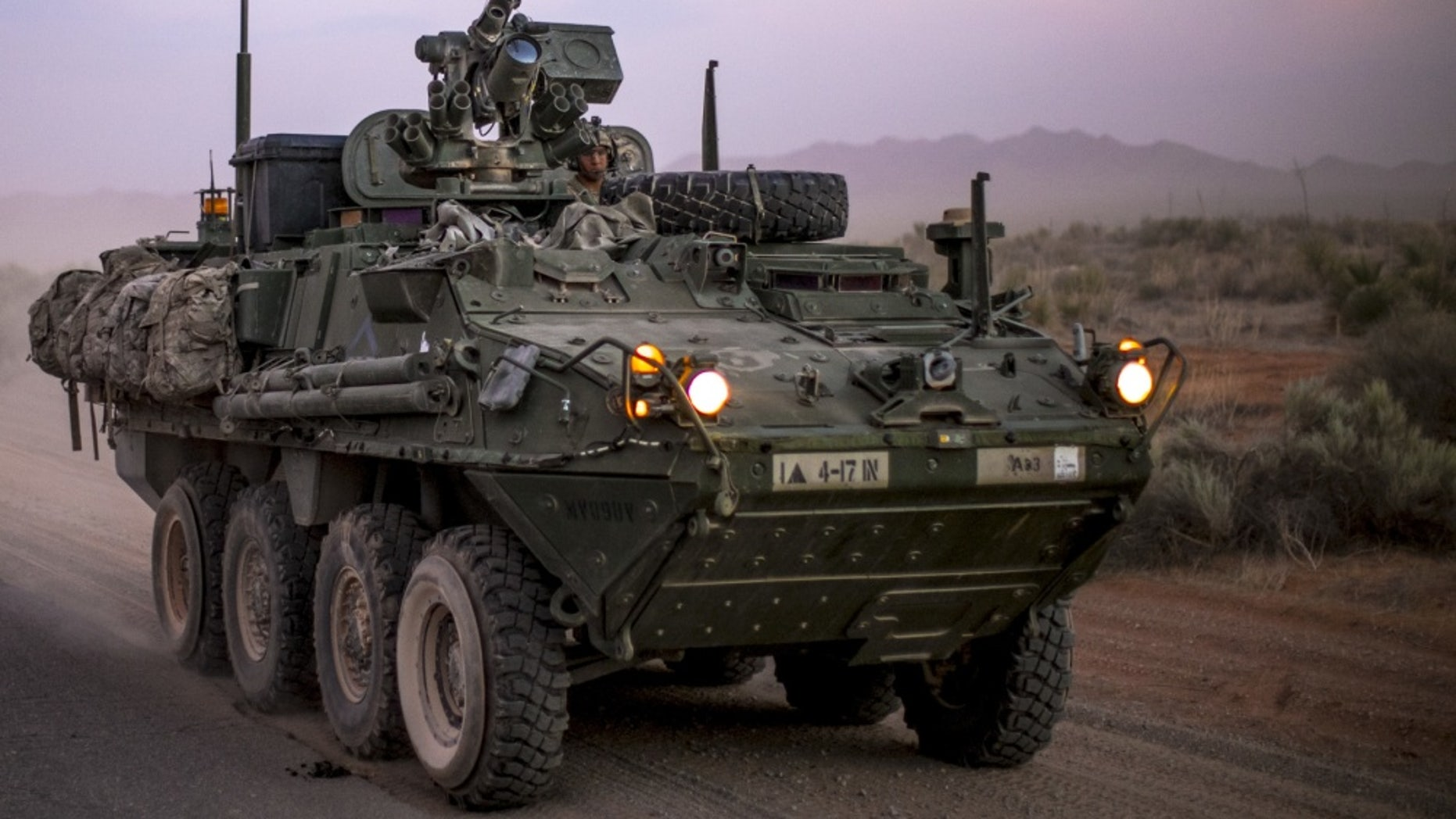 File photo - Stryker assigned to 1st Brigade Combat Team, 4-17 Infantry Battalion passed the Combat Aviation Brigade's convoy on the way to Division's wide Iron Focus field exercise. (Photo by Spc. Tin P. Vuong, U.S. Army)