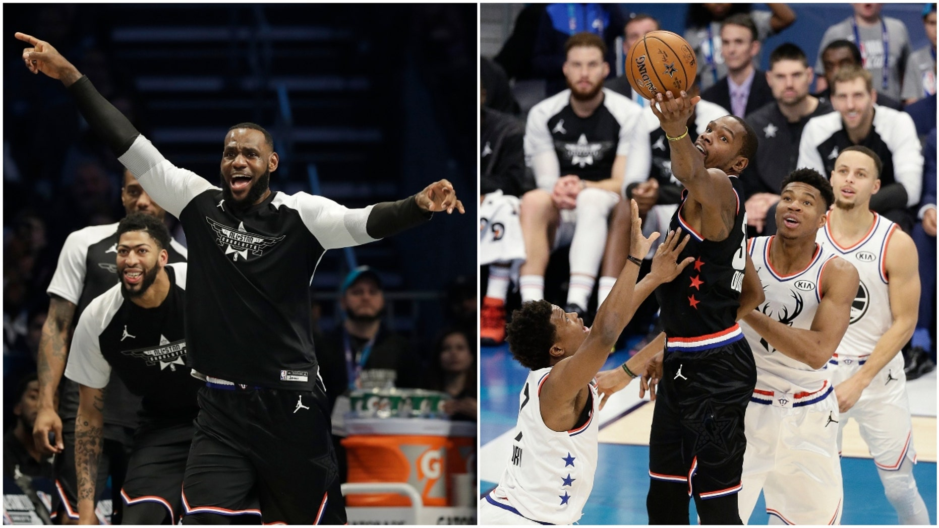 LeBron James and Kevin Durant at NBA All-Star Game (Photo: AP Photo/Chuck Burton and AP Photo/Gerry Broome)
