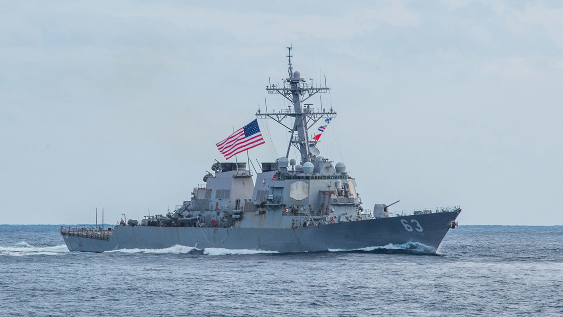 The Arleigh Burke-class guided-missile destroyer USS Stethem (DDG 63), seen here during an exercise in the Western Pacific, passed through the Taiwan Strait on Monday.