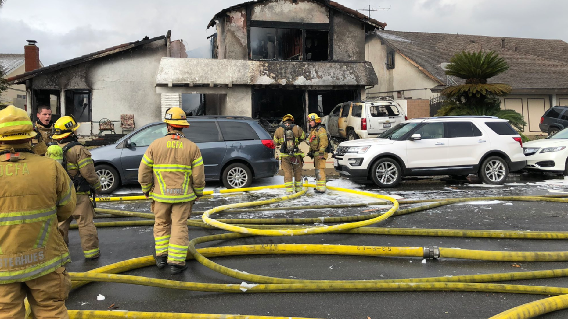 A small plane crashed in a residential California neighborhood on Sunday and set a single family home ablaze officials said