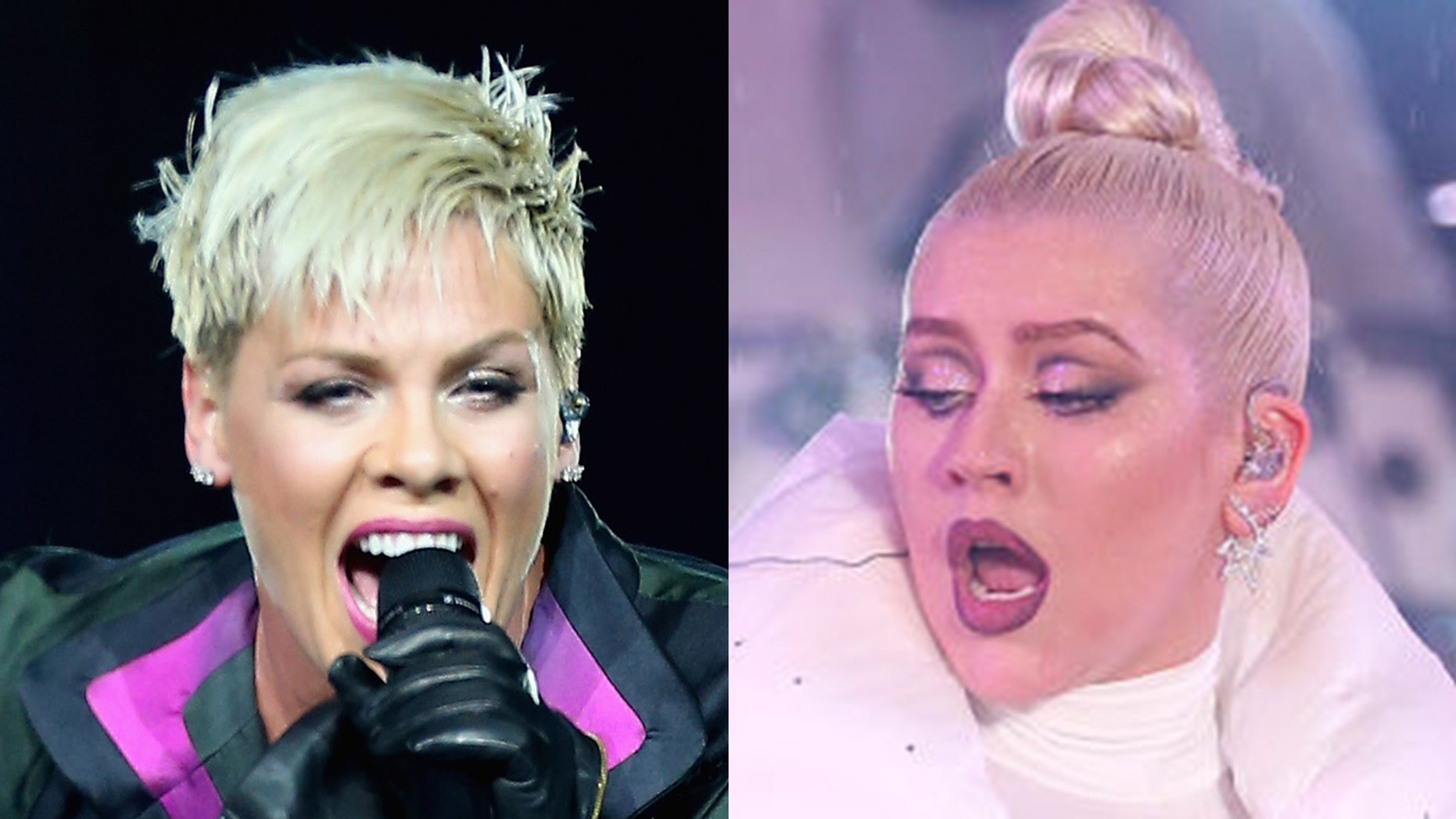 Christina Aguilera [right] denies she ever tried to swing at Pink [left].