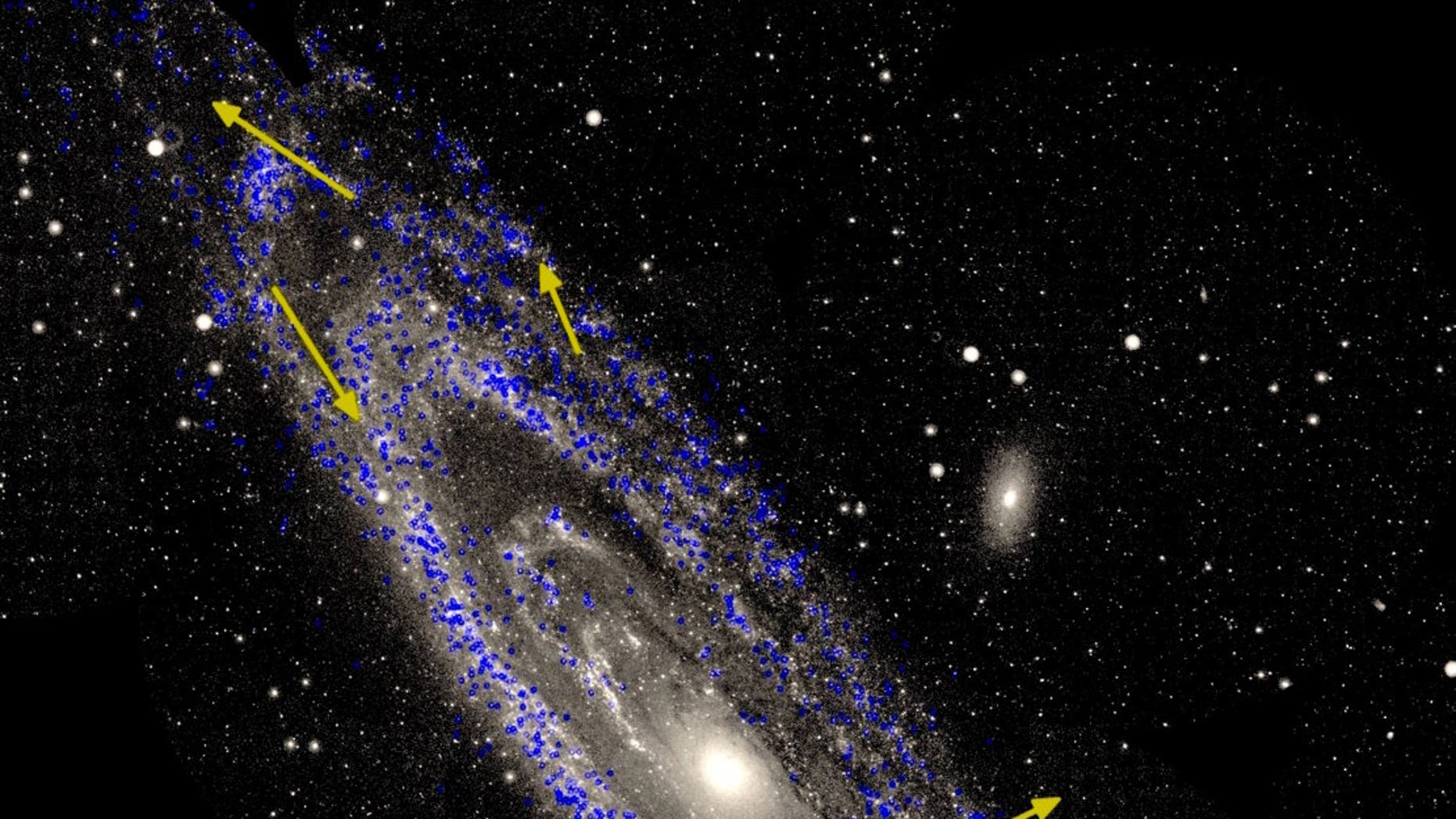 A perspective of a Andromeda galaxy, also famous as M31, with measurements of a motions of stars within a galaxy. This turn universe is a nearest vast neighbor of a Milky Way.