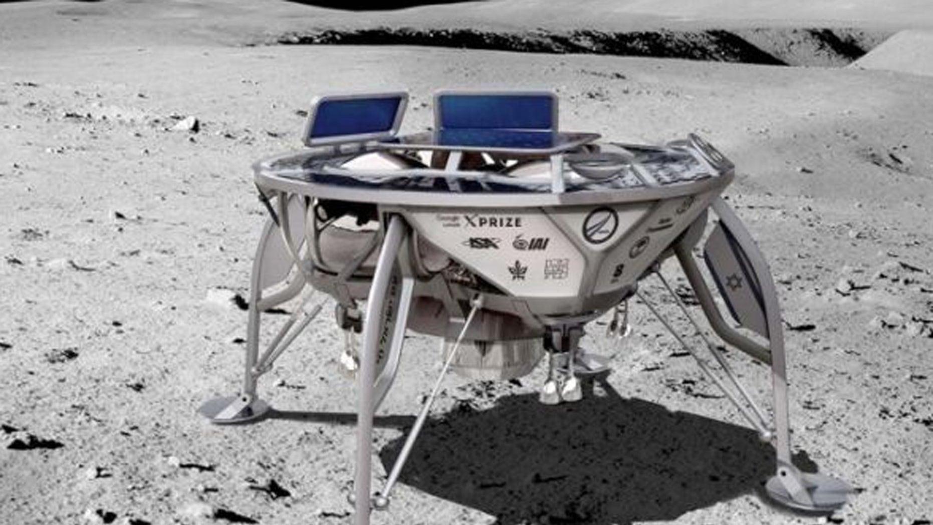 The image of the artist on the lunar landing place of Beresheta