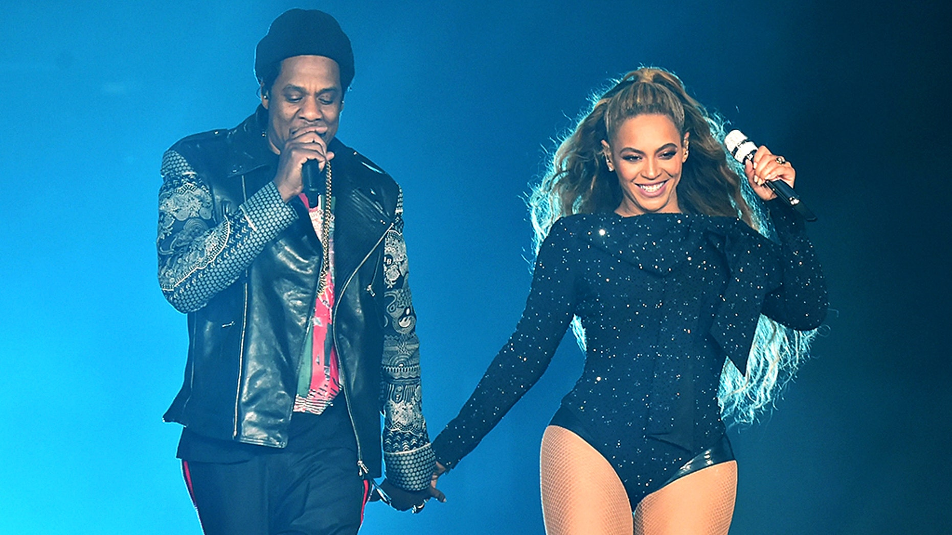 In addition to Beyoncé, other musical acts included her husband Jay Z (pictured together), Ed Sheeran, Pharrell Williams and Chris Martin.