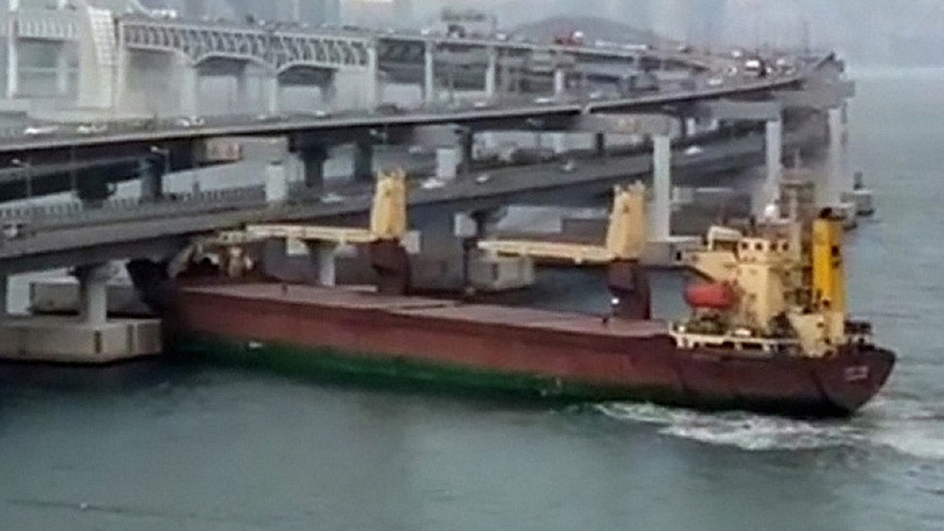 A Russian cargo ship crashed into a bi-level bridge on the coast of South Korea while its captain was drunk