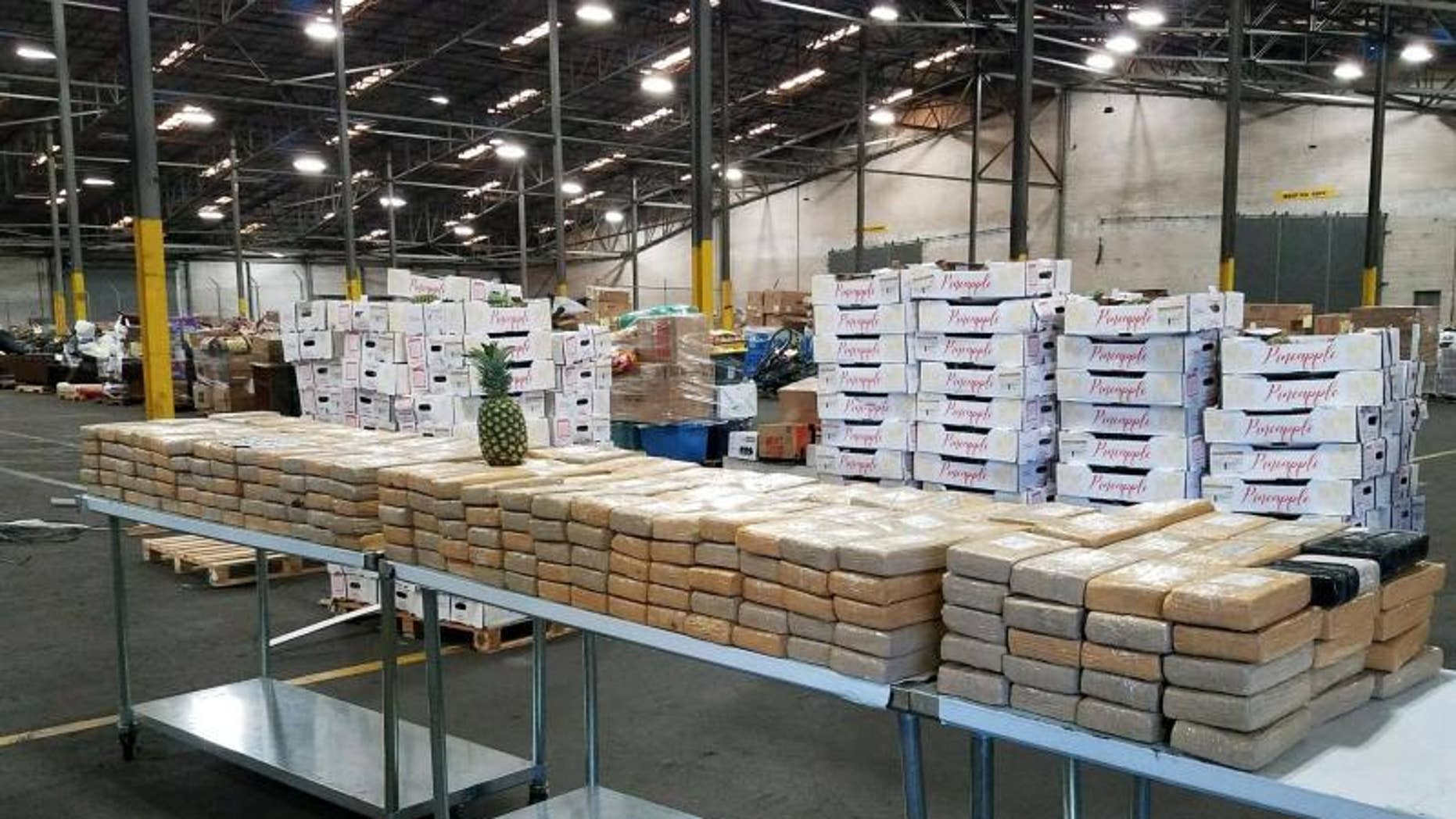 Customs and Border Protection announced Friday that cocaine valued at more than $19 million was seized after being discovered inside a shipment of pineapples.