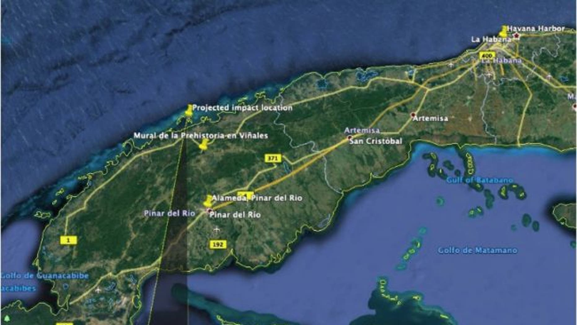 Trajectory of the meteor that fell over Cuba on Feb. 1, 2019, as reconstructed by a team of Colombian astronomers.