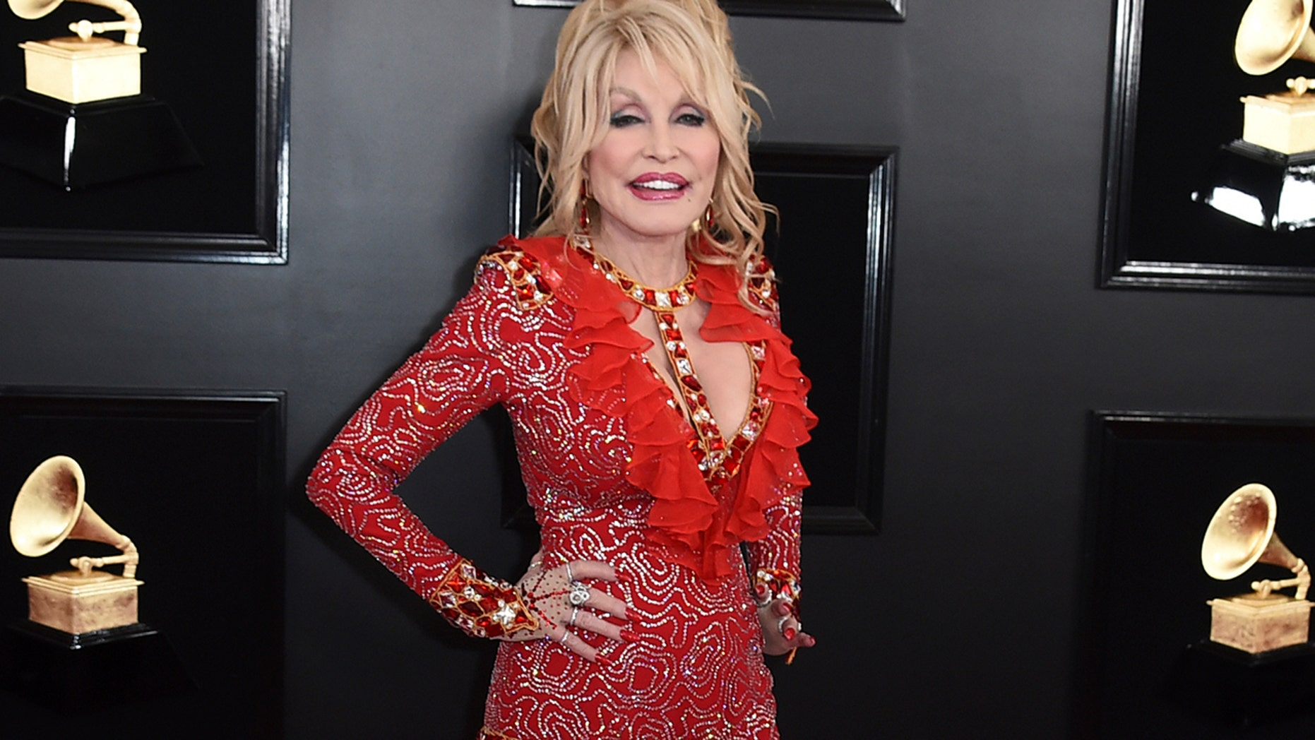 Dolly Parton arrives at the 61st annual Grammy Awards at the Staples Center on Sunday, Feb. 10, 2019, in Los Angeles.