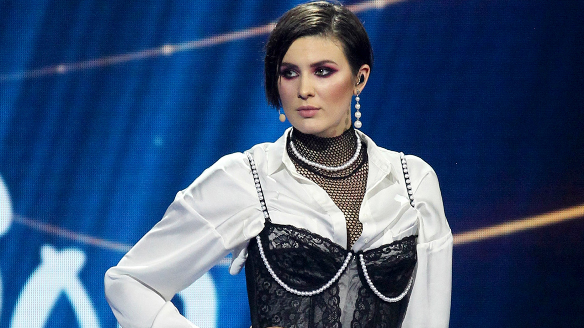 In this photo taken on Sunday, Feb. 24, 2019, Anna Korsun, who performs under the name of Maruv poses for a photo on stage at the national nomination for Eurovision in Kiev, Ukraine. Ukraine has pulled out of this year's Eurovision song contest following a politics-laden dispute between the singer who won the national competition and the country's national public broadcaster. (AP Photo/Vladimir Donsov, File)