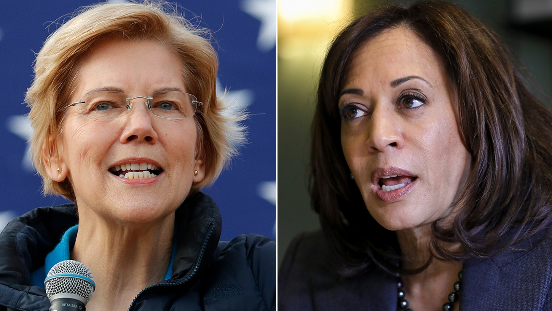 Democratic Sens. Elizabeth Warren of Massachusetts, left, and Kamala Harris of California have reportedly said they back reparations for black Americans affected by the legacy of slavery. (Associated Press)