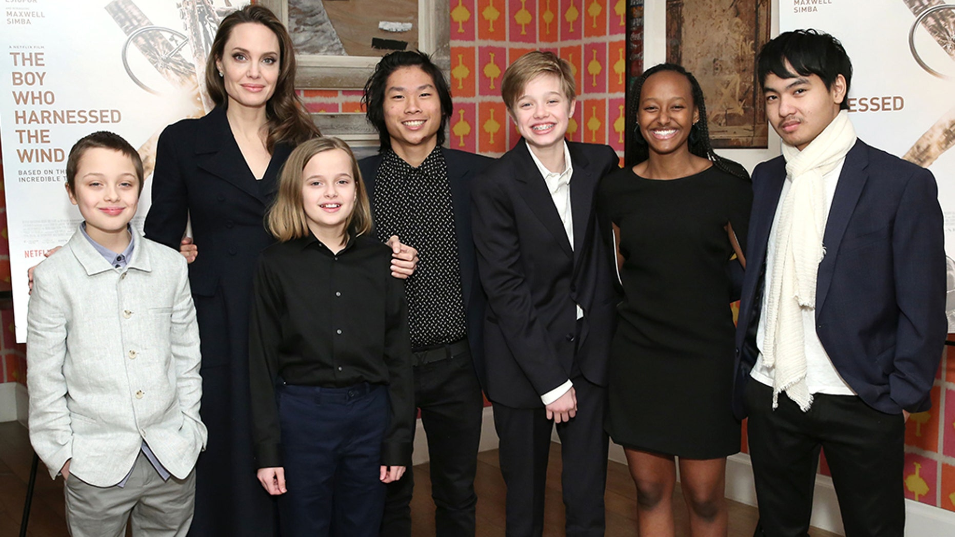 "Angelina Jolie with children Knox Leon Jolie-Pitt, Vivienne Marcheline Jolie-Pitt, Pax Thien Jolie-Pitt, Shiloh Nouvel Jolie-Pitt, Zahara Marley Jolie-Pitt and Maddox Chivan Jolie-Pitt attend ""The Boy Who Harnessed The Wind"" Special Screening at Crosby Street Hotel on February 25, 2019 in New York City."