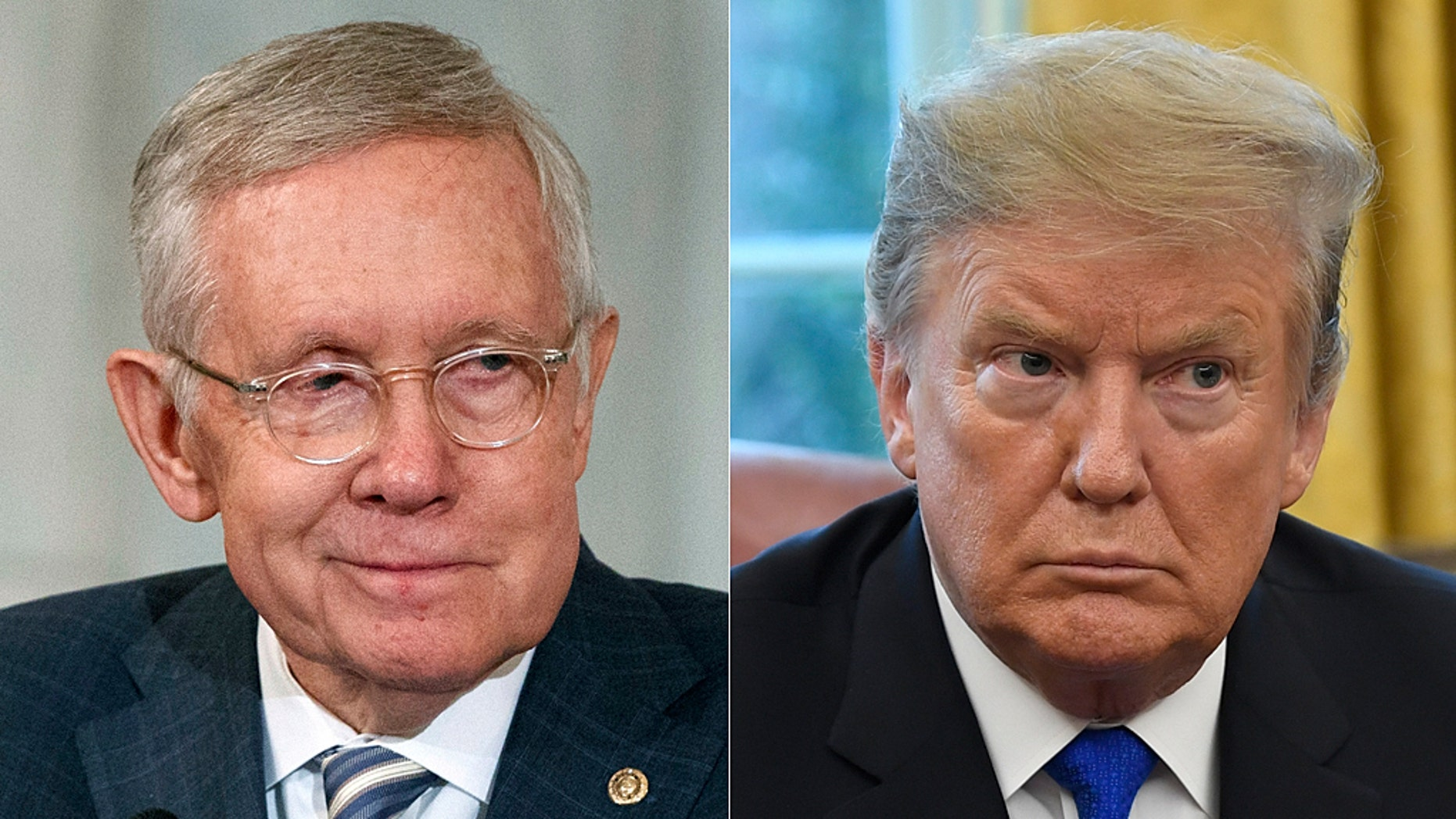Harry Reid (left) delivered a scathing attack on President Donald Trump in a new interview