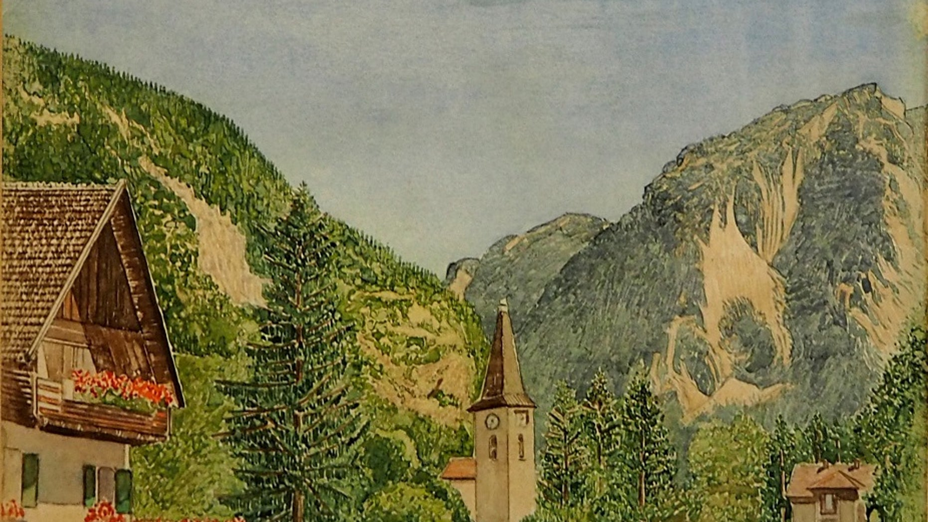 Auktionhaus Weidler in Nuremberg, Germany, is auctioning 31 drawings and watercolor landscapes of rural Germany attributed to Adolf Hitler.