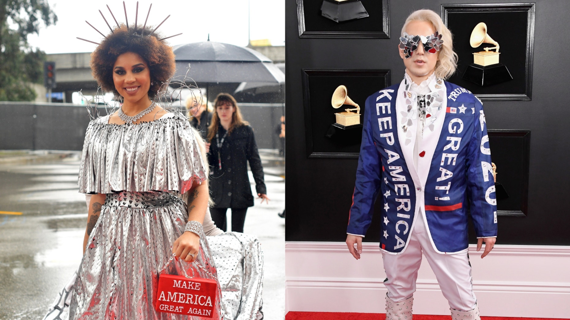 Singer Joy Villa dresses as Trump border wall at Grammys