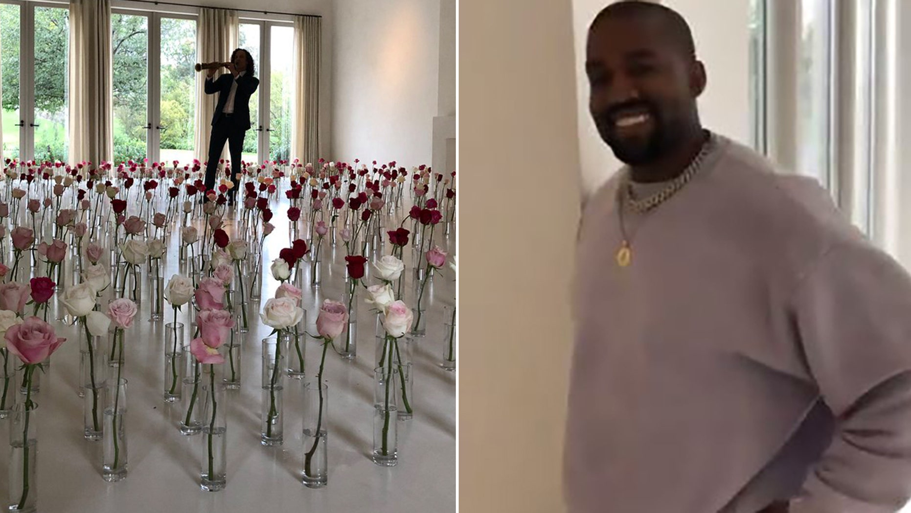 Kanye West surprised Kim Kardashian with a romantic Kenny G performance on Valentine's Day.