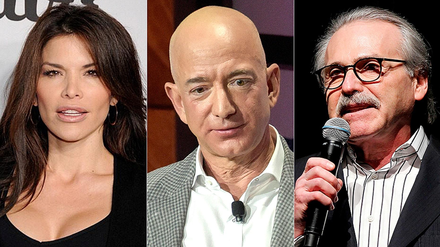 Lauren Sanchez, Jeff Bezos and American Media CEO David Pecker, the publisher of National Enquirer.