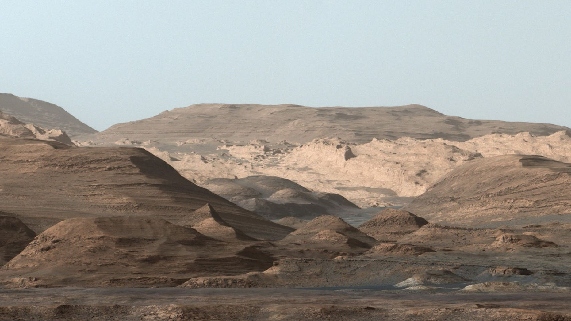 NASA's Mars rover Curiosity captured this composite image, which looks toward the higher regions of Mount Sharp, on Sept. 9, 2015.