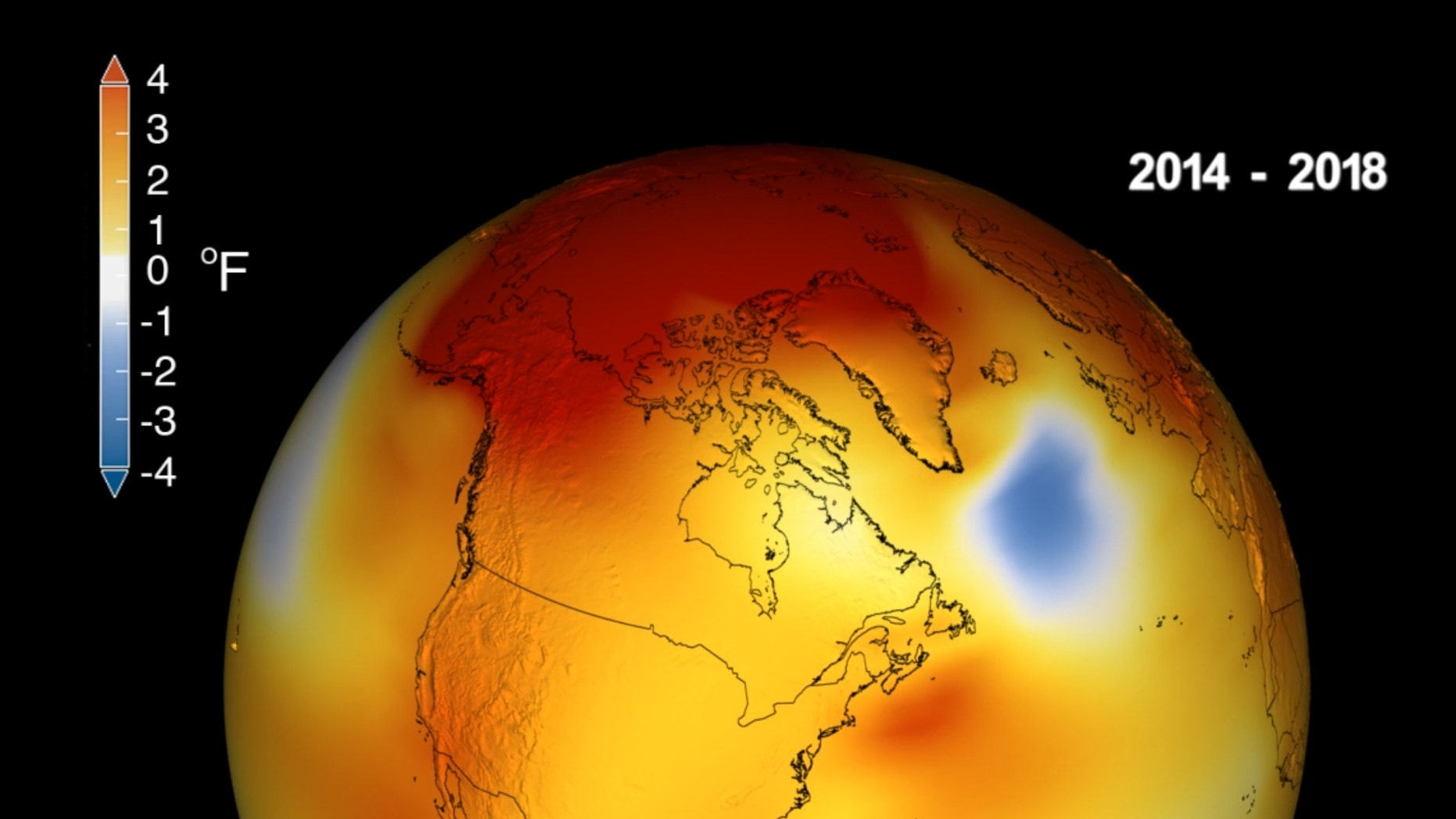 Earth's long-term warming trend can be seen in this visualization of NASA's global temperature record, which shows how the planet's temperatures are changing over time, compared to a baseline average from 1951 to 1980. The record is shown as a running five-year average. Credits: NASA's Scientific Visualization Studio/Kathryn Mersmann