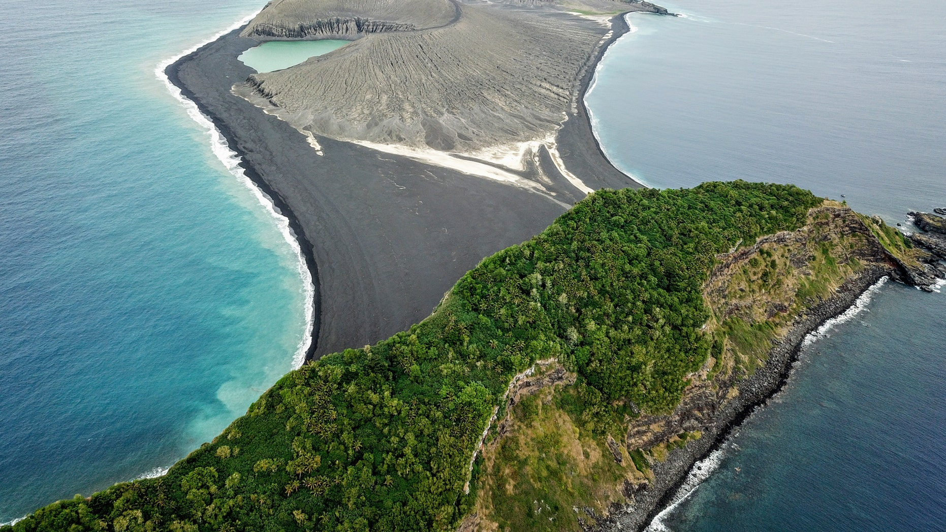 The three-year-old volcanic island (center) as seen from the SEA drone. (Credit: Woods Hole)