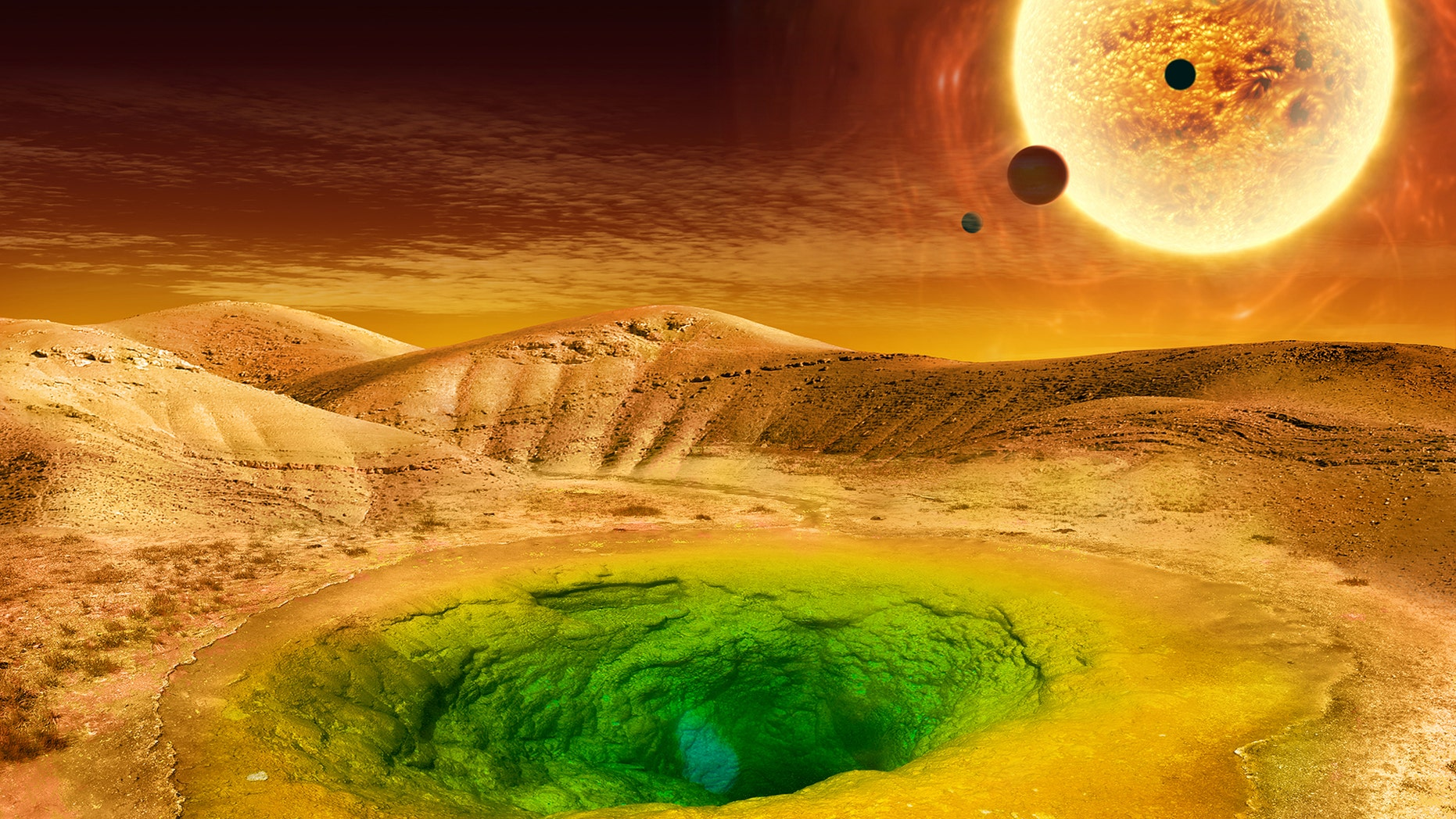 This image is an artist's conception of what life could look like on the surface of a distant planet. (Credit: NASA)