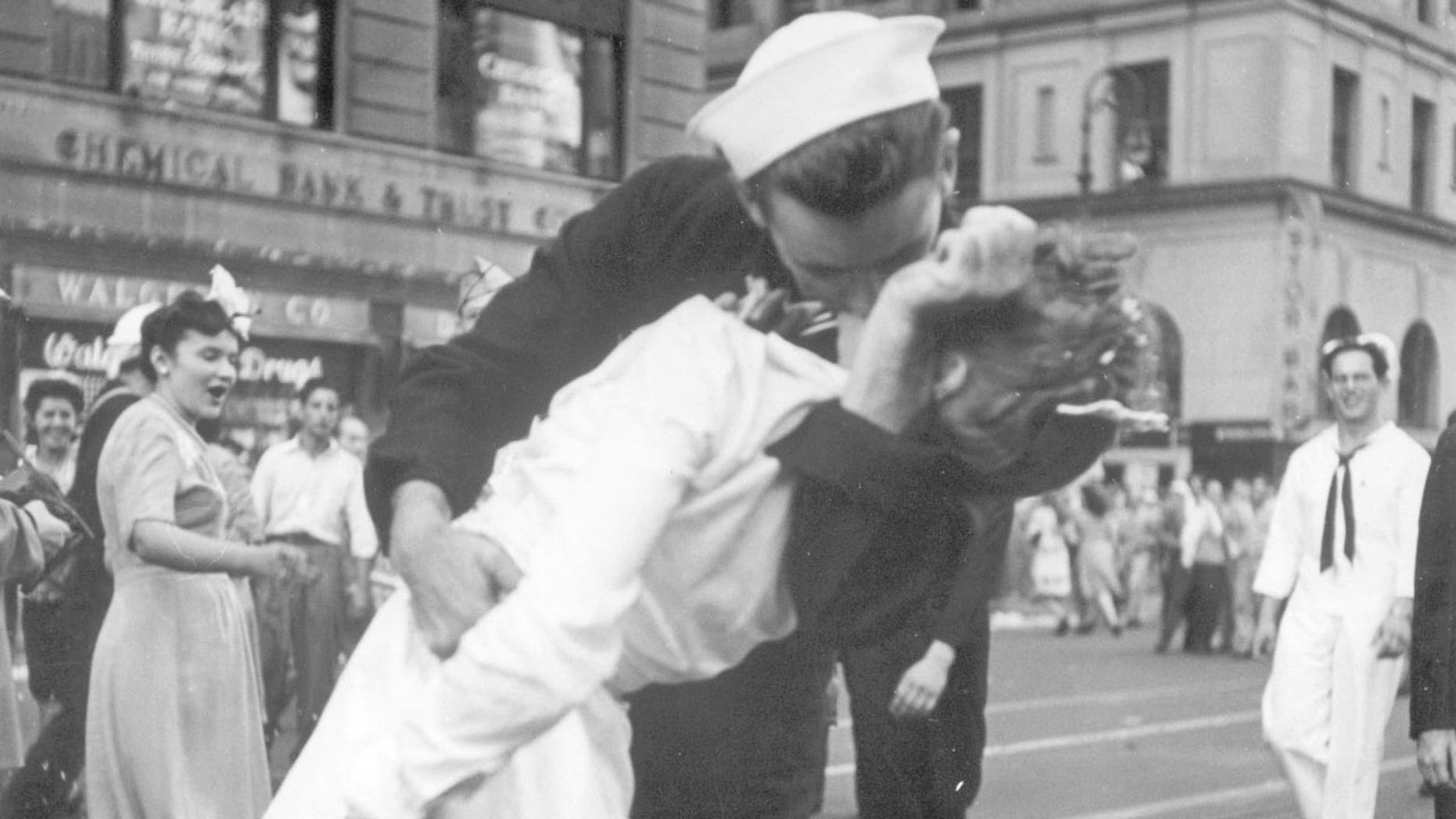 The ecstatic sailor shown kissing a woman in Times Square celebrating the end of World War II has died. George Mendonsa was 95. It was years after the photo was taken that Mendonsa and Greta Zimmer Friedman, a dental assistant in a nurse's uniform, were confirmed to be the couple.