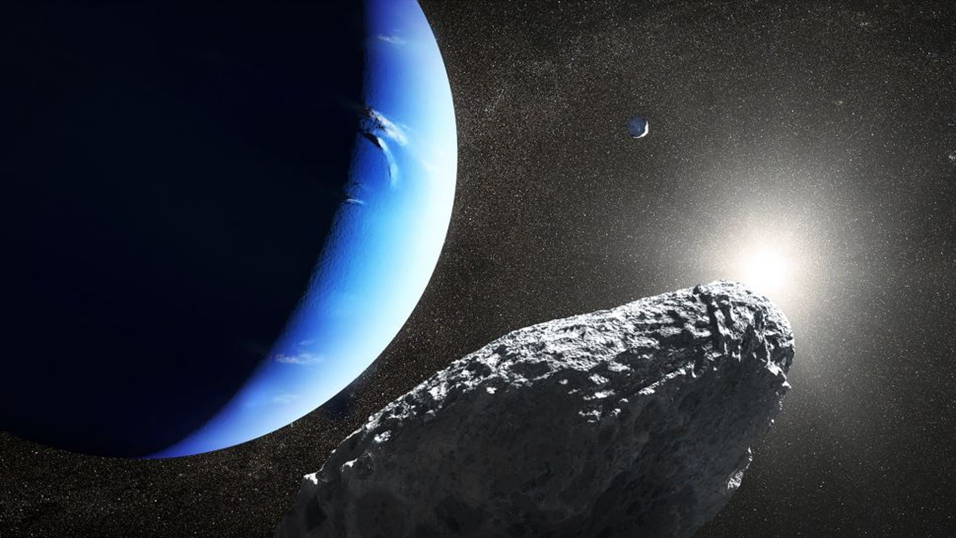 An artist's illustration of Netpune's smallest moon Hippocamp in orbit around the gas giant. It's just 20 miles across.
